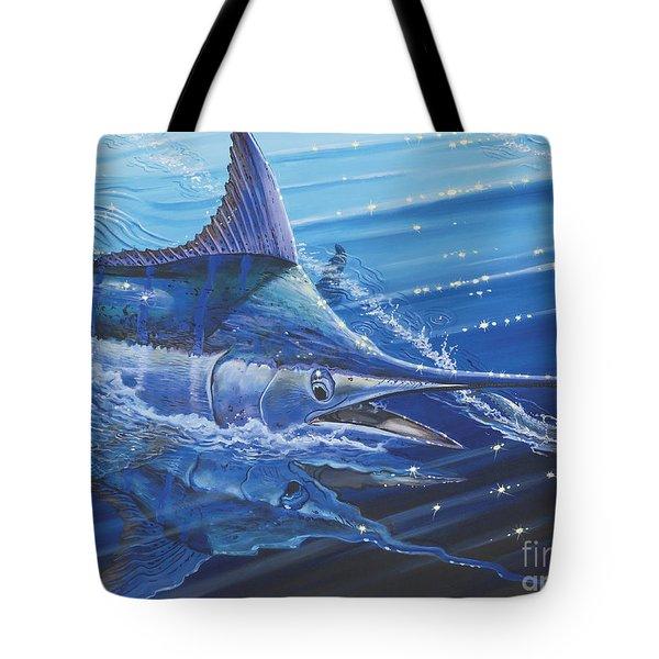 Blue Marlin Strike Off0053 Tote Bag by Carey Chen