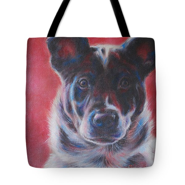 Blue Merle On Red Tote Bag by Kimberly Santini