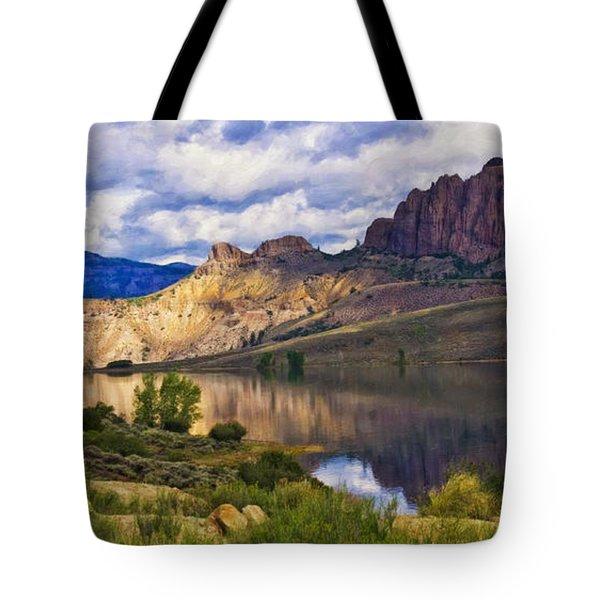 Blue Mesa Reservoir Digital Painting Tote Bag by Priscilla Burgers