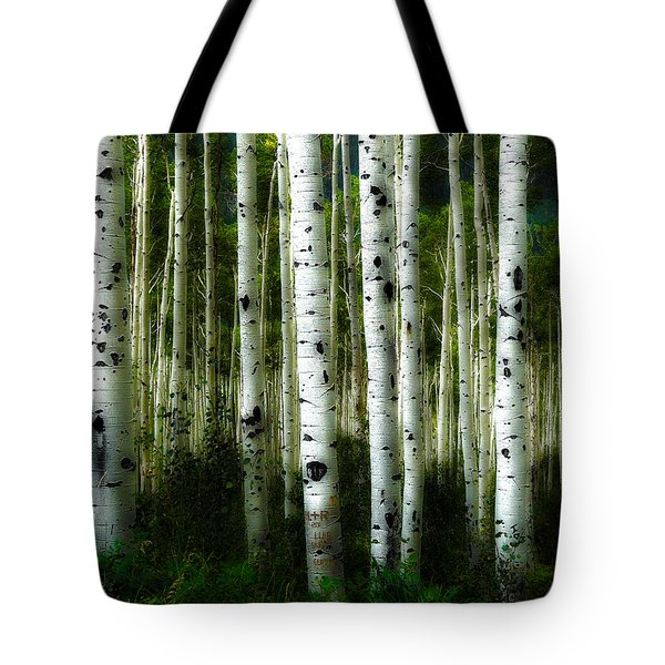 Tote Bag featuring the photograph Blue Mood Aspens I by Lanita Williams