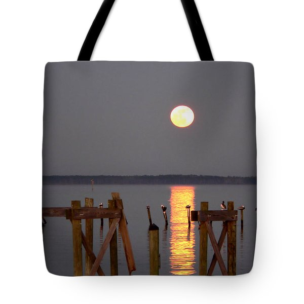 Blue Moon On The Bay On New Years Eve 2009 Tote Bag