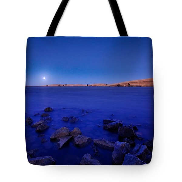Blue Moon On The Rocks Tote Bag
