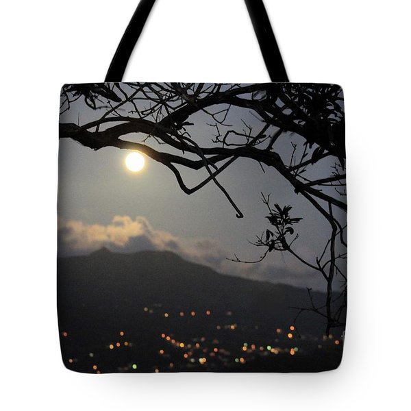 Blue Moon Over El Yunque Tote Bag by The Art of Alice Terrill