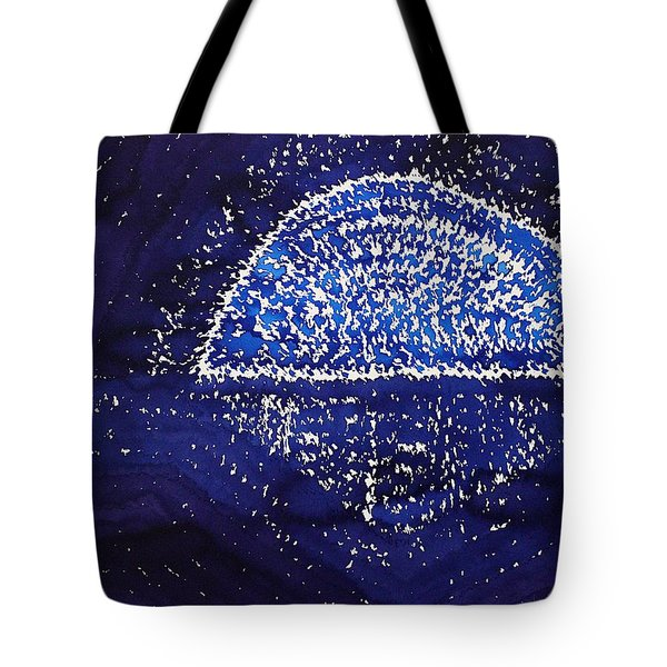 Blue Moonrise Original Painting Tote Bag by Sol Luckman