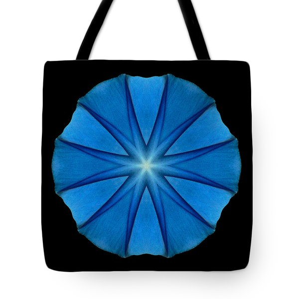Blue Morning Glory Flower Mandala Tote Bag