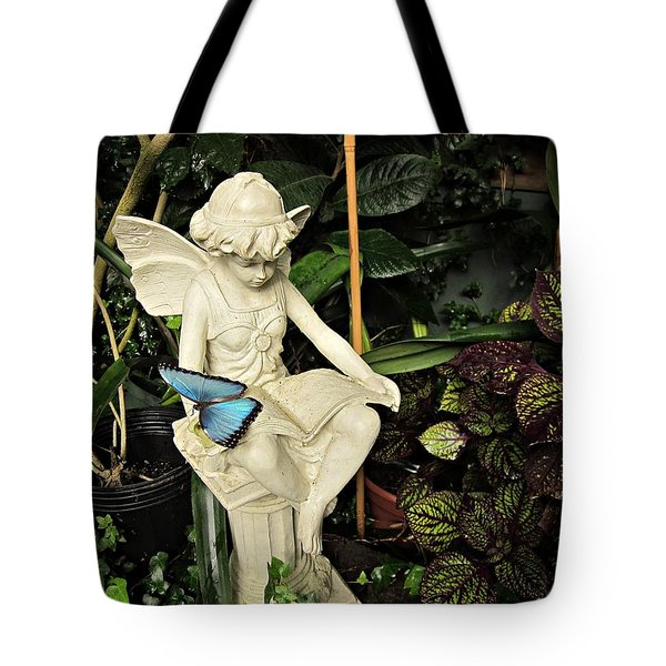 Blue Morpho On Statue Tote Bag