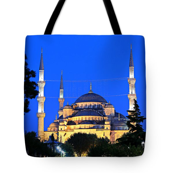 Blue Mosque At Dawn Tote Bag by Stephen Stookey