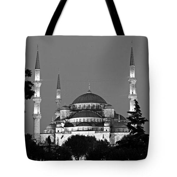 Blue Mosque In Black And White Tote Bag by Stephen Stookey