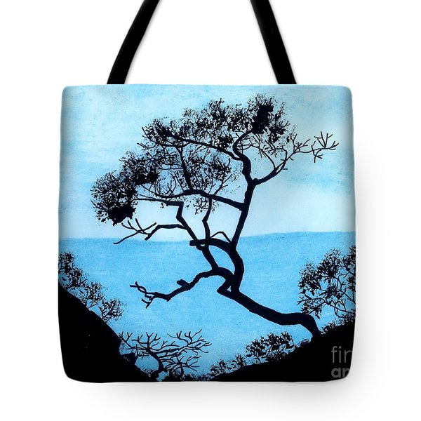 Tote Bag featuring the drawing Blue Mountain by D Hackett