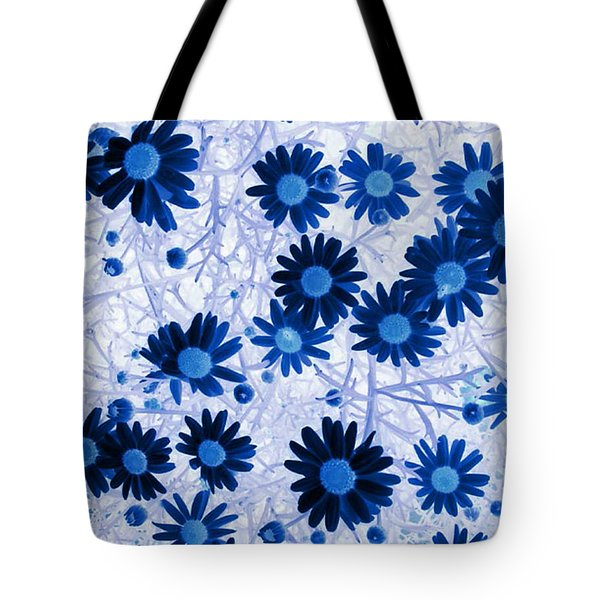 Tote Bag featuring the digital art Blue Mystical Daisies  by Sandra Foster