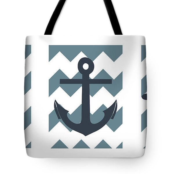 Blue Nautical Collage Tote Bag by Pati Photography