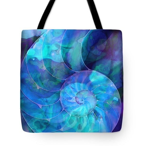 Blue Nautilus Shell By Sharon Cummings Tote Bag