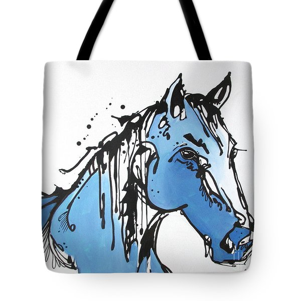 Tote Bag featuring the painting Blue by Nicole Gaitan