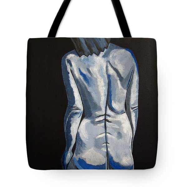 Blue Nude Self Portrait Tote Bag by Sandra Marie Adams
