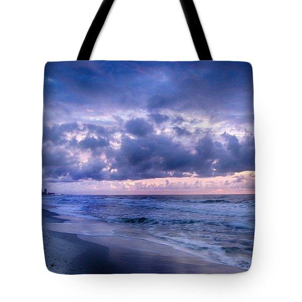 Tote Bag featuring the digital art Blue Orange Beach by Michael Thomas