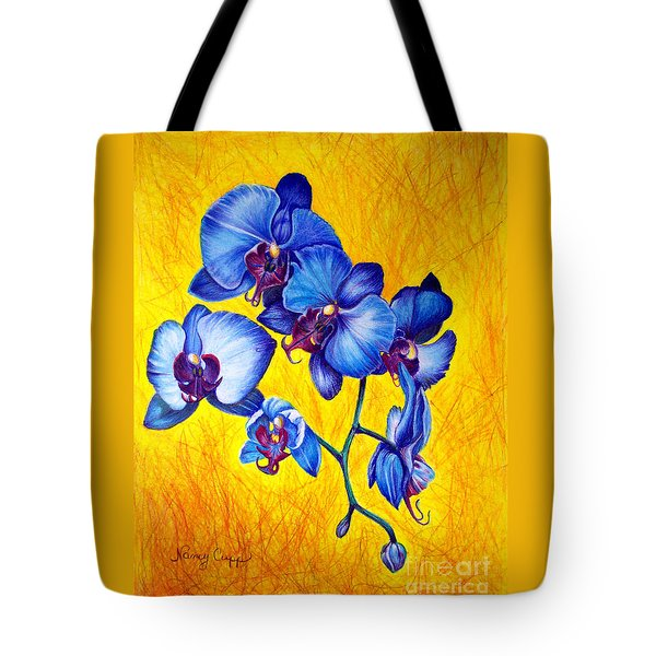 Tote Bag featuring the painting Blue Orchids 1 by Nancy Cupp