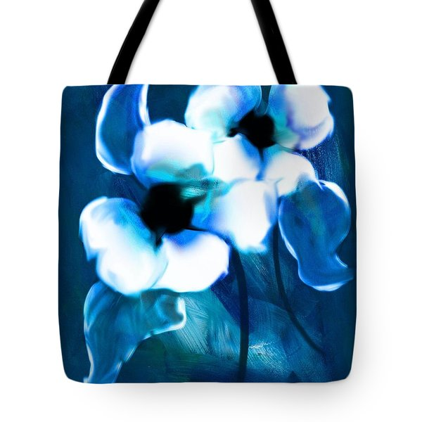 Tote Bag featuring the digital art Blue Orchids  by Frank Bright