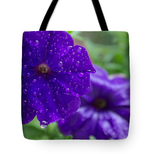 Blue Pansies After A Rain Tote Bag