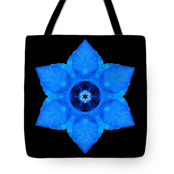 Blue Pansy II Flower Mandala Tote Bag