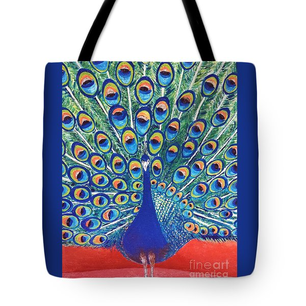 Tote Bag featuring the painting Blue Peacock by Jasna Gopic