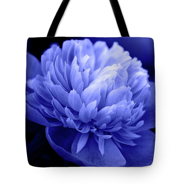 Blue Peony Tote Bag by Sandy Keeton