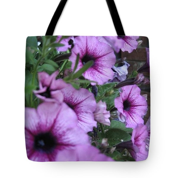 Tote Bag featuring the photograph Blue Petunias by Deb Martin-Webster
