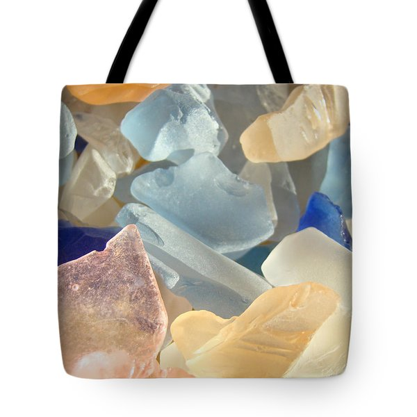 Blue Pink Orange Seaglass Beach Garden Tote Bag by Baslee Troutman