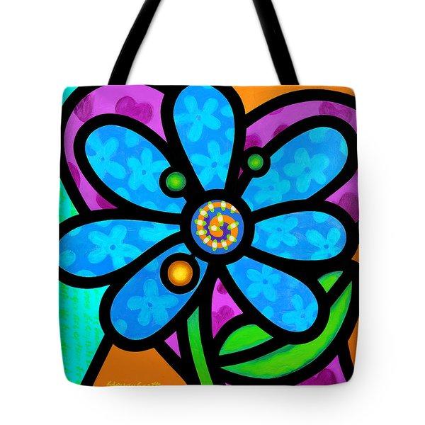 Blue Pinwheel Daisy Tote Bag