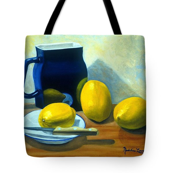 Blue Pitcher With Lemons Tote Bag