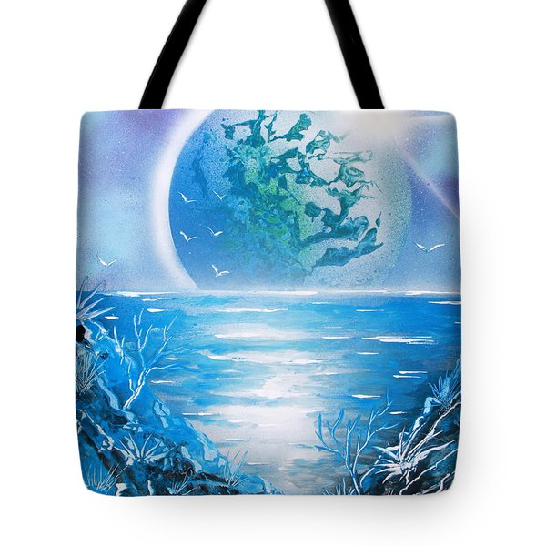 Tote Bag featuring the painting Blue Moon by Greg Moores