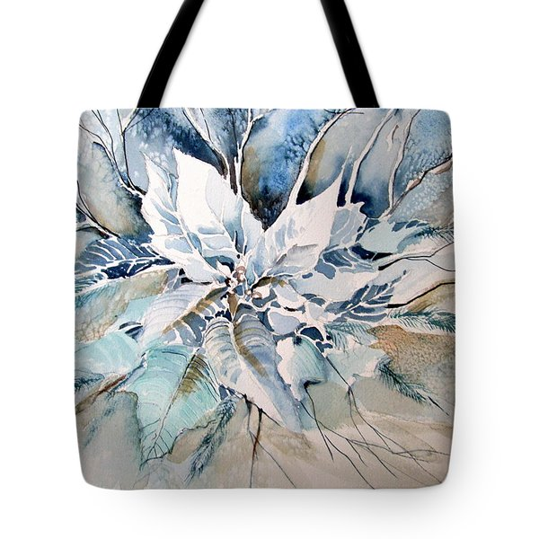 Blue Poinsettia Tote Bag