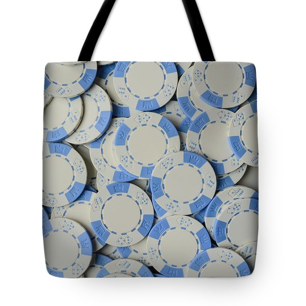 Blue Poker Chip Background Tote Bag