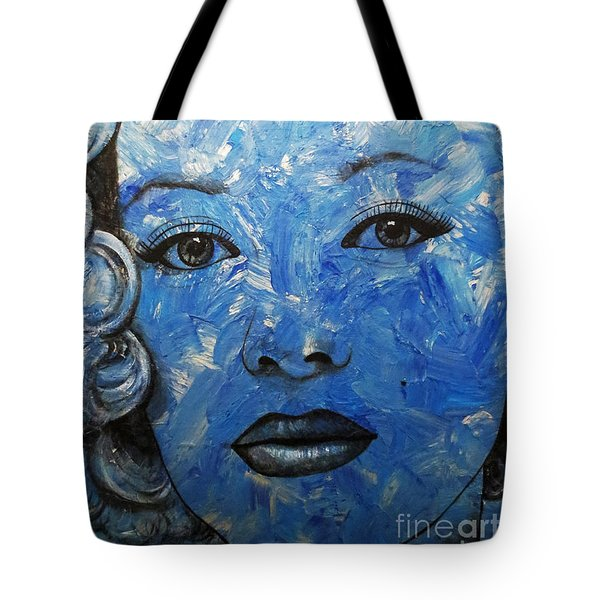 Tote Bag featuring the painting Blue Pop Marilyn by Malinda Prudhomme