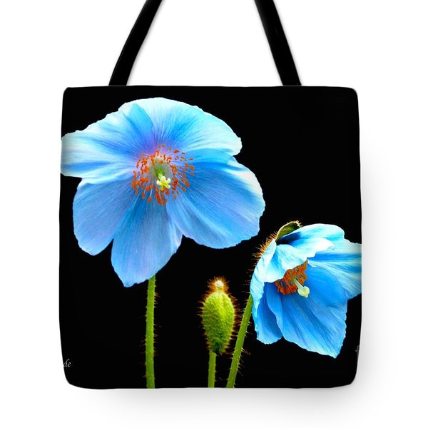 Blue Poppy Flowers # 4 Tote Bag