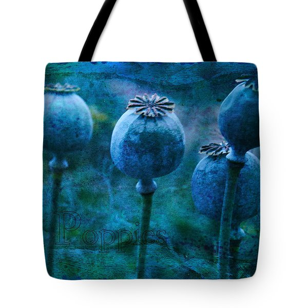Tote Bag featuring the photograph Blue Poppy Grunge by Sandra Foster