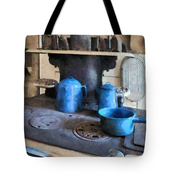 Blue Pots On Stove Tote Bag by Susan Savad