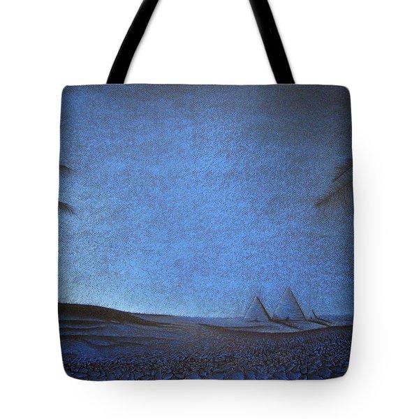 Tote Bag featuring the drawing Blue Pyramid by Mayhem Mediums
