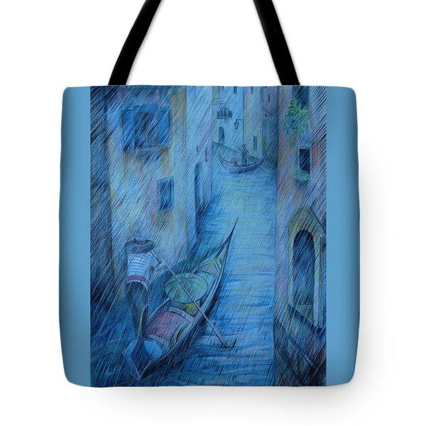 Blue Rain Of Venice Tote Bag