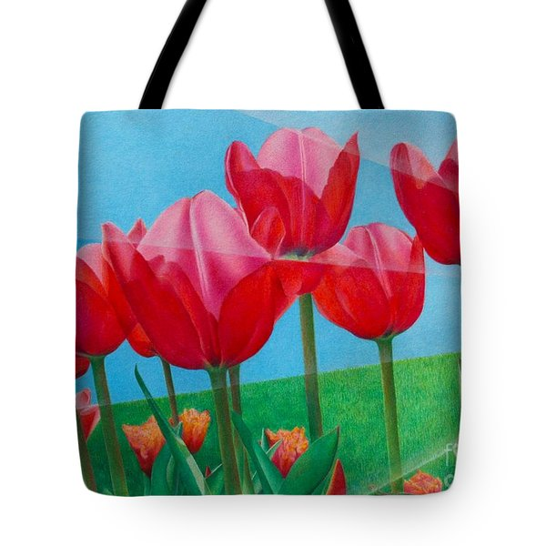 Blue Ray Tulips Tote Bag by Pamela Clements