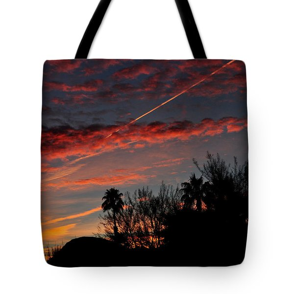 Blue Red And Gold Sunset With Streak Tote Bag by Jay Milo