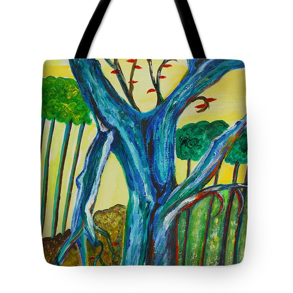 Blue Remembered Tree Tote Bag