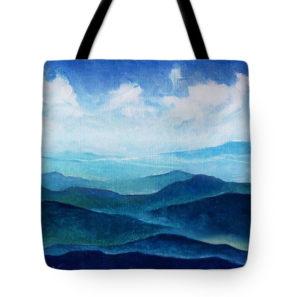 Blue Ridge Blue Skyline Sheep Cloud Tote Bag
