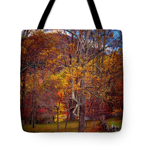 Blue Ridge Fenced In Fall Tote Bag by Cathy Shiflett