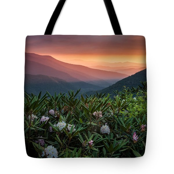 Blue Ridge Morn With Rose Bay Rhododendron  Tote Bag by Rob Travis