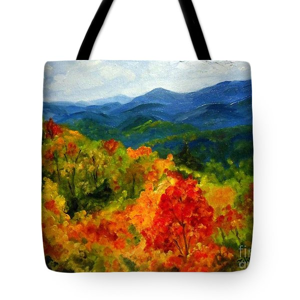 Blue Ridge Mountains In Fall Tote Bag by Julie Brugh Riffey