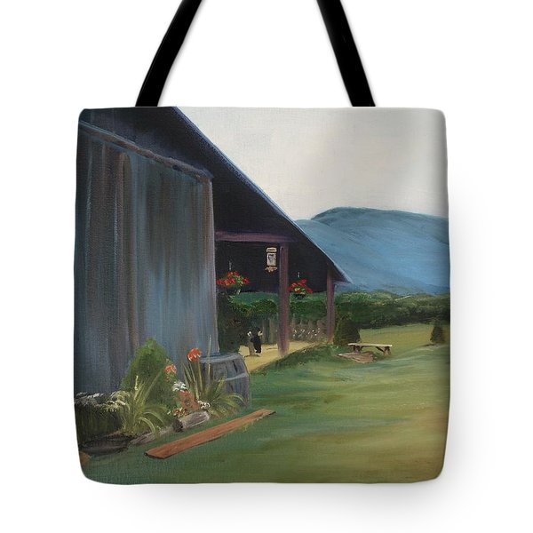 Tote Bag featuring the painting Blue Ridge Vineyard by Donna Tuten