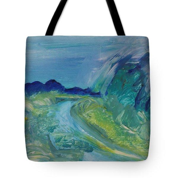 Blue River Landscape I, 1988 Oil On Canvas Tote Bag