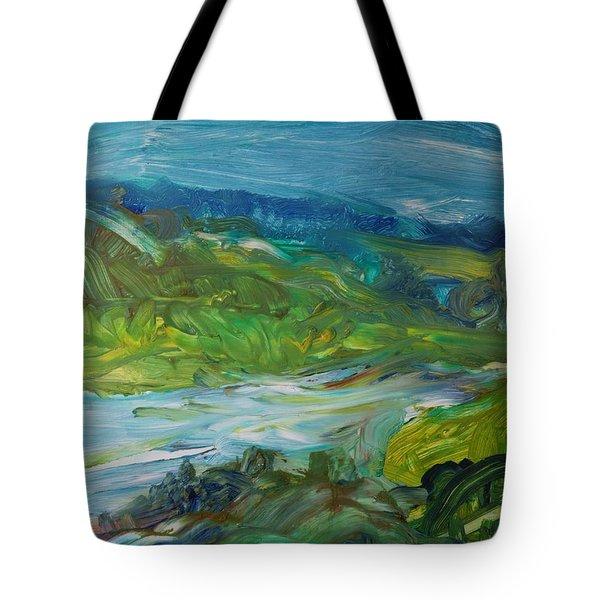 Blue River Landscape II, 1988 Oil On Canvas Tote Bag