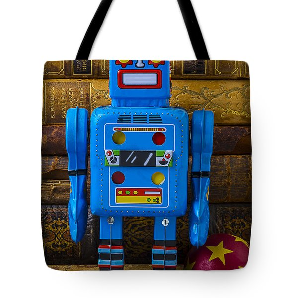 Blue Robot And Books Tote Bag by Garry Gay
