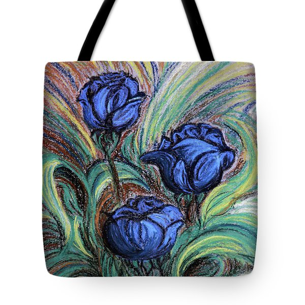 Tote Bag featuring the painting Blue Roses by Jasna Dragun